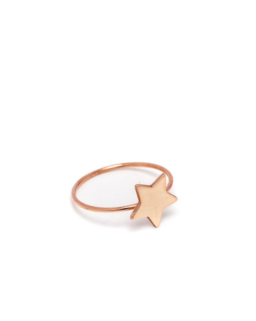 Anello stella oro rosa