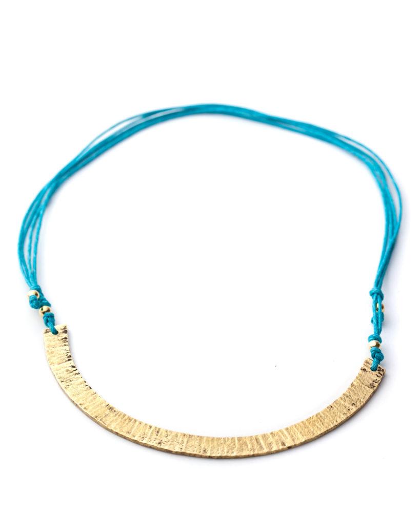 Collana ottone azzurra